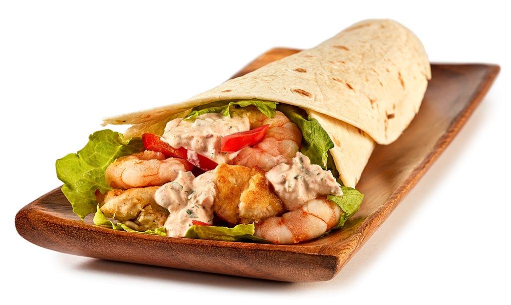 Chicken and shrimp Dürüm kebab