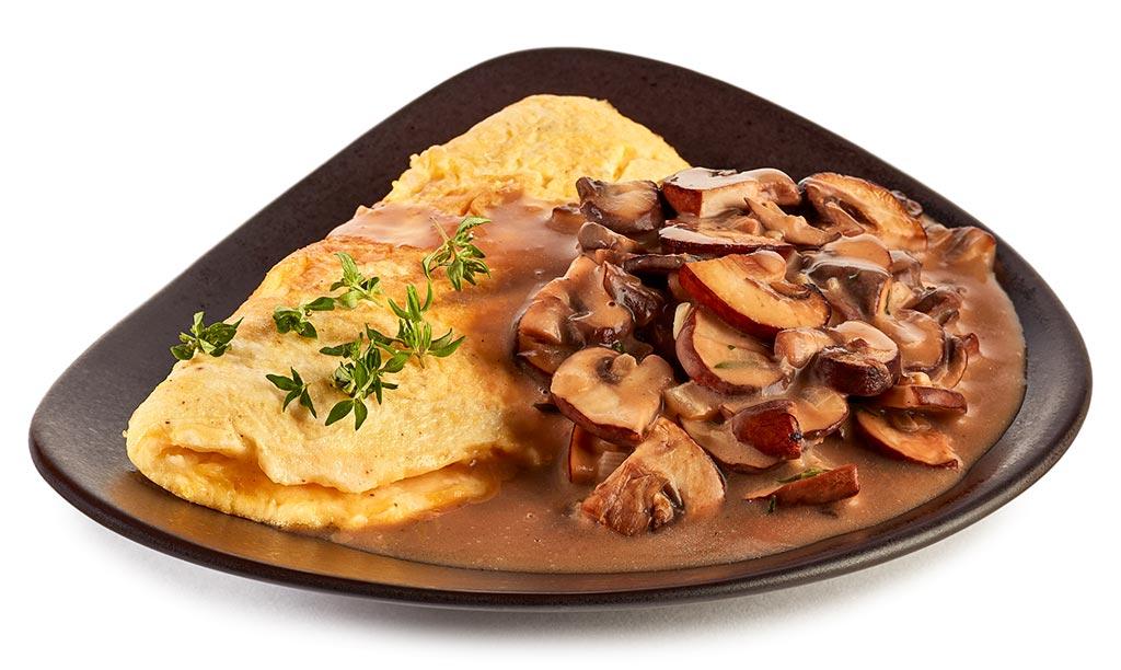 Omelette with cream mushrooms