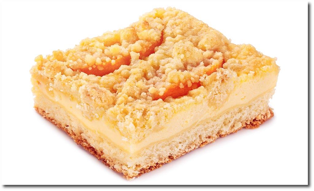 Pfirsich quark kuchen mit streusel