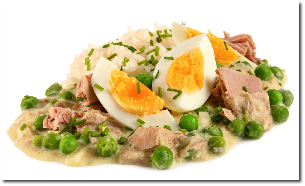 Diät mit gekochtem Ei und Thunfisch