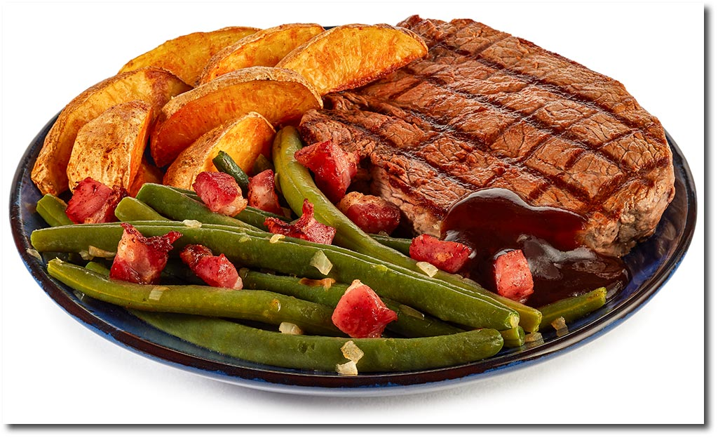 bbq steak mit speck bohnen rezept. Black Bedroom Furniture Sets. Home Design Ideas