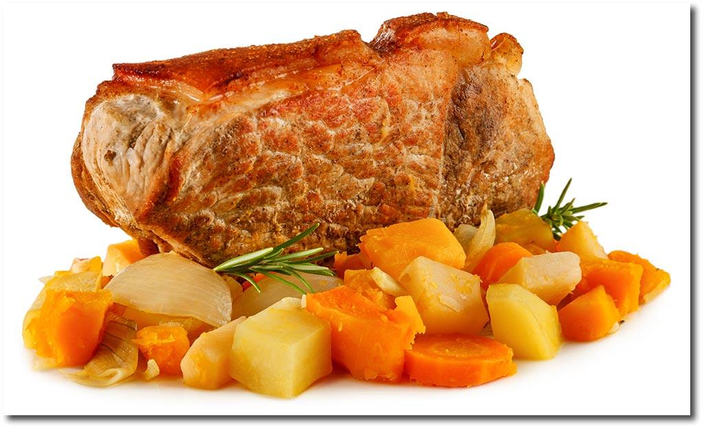 Krusten Braten Mit Ofen Gemüse Rezept