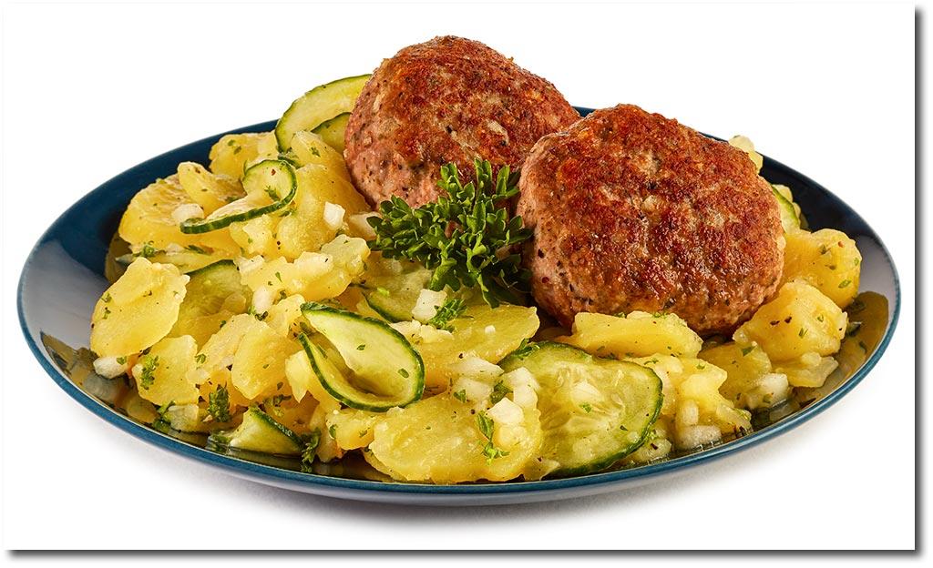 fleisch pflanzerl mit kartoffel salat rezept. Black Bedroom Furniture Sets. Home Design Ideas