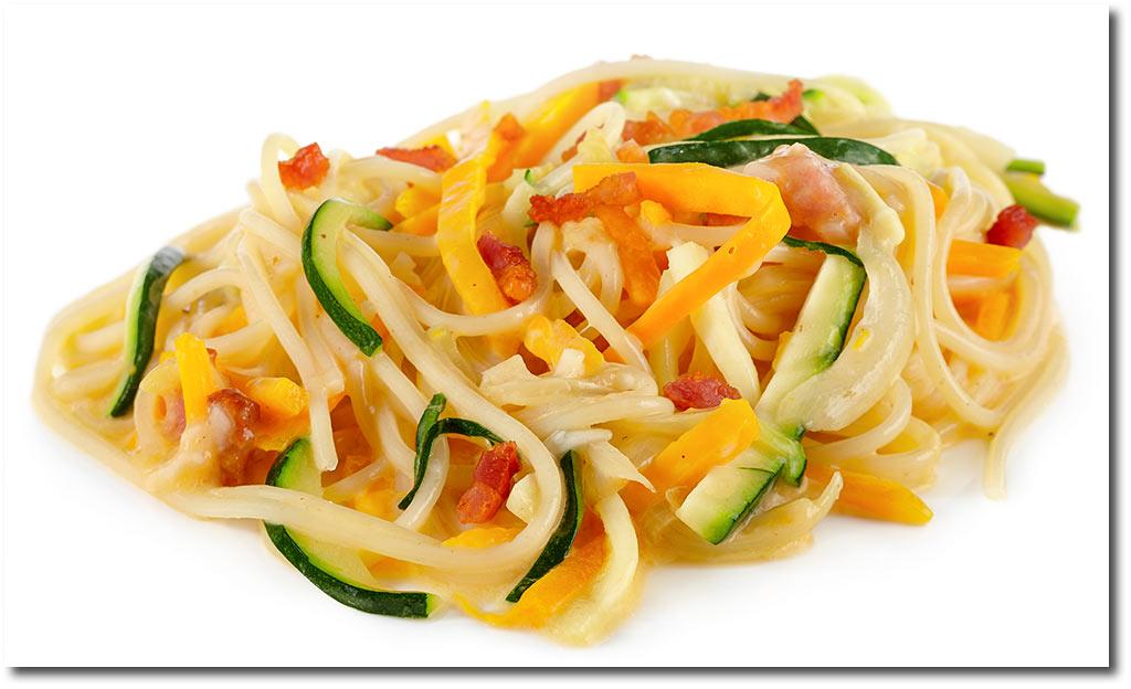 Kürbis Zucchini Spaghetti Carbonara Rezept