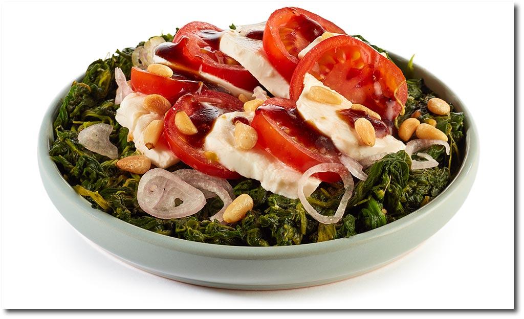 tomate mozzarella spinat salat rezept. Black Bedroom Furniture Sets. Home Design Ideas